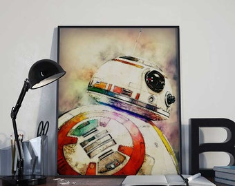 Star Wars BB8 Portrait The Force Awakens Art Print Poster - PRINTABLE 8x10 inches Ideal Last Minute Gift