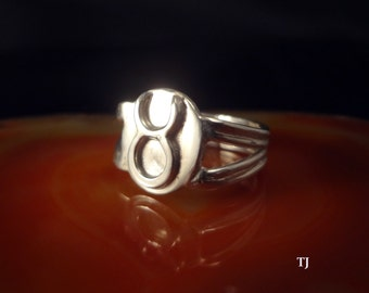 Taurus Zodiac Ring, Handmade, Solid Sterling Silver, Size 7.5
