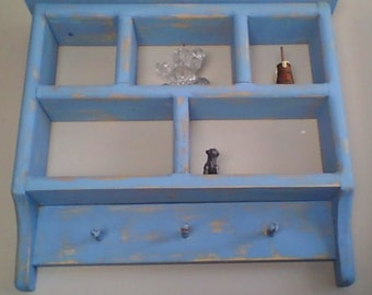Light Blue Shadow Box Shelves with Pegs