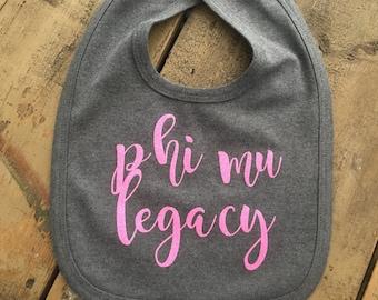 Custom Sorority Legacy Baby Bib