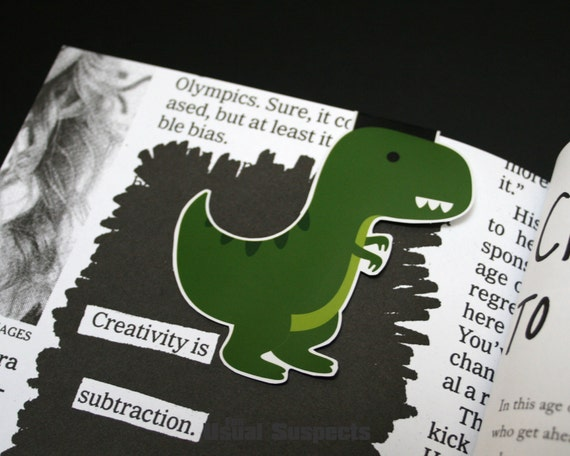 Big T-Rex Magnetic Bookmark, Tyrannosaurus Rex Paper Clip for Planners or Cookbooks, Kawaii Dinosaur Page Markers for Books and Reading