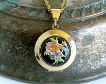 Round Locket Necklace, Black Locket Necklace, Two Picture Locket, Round Floral Locket, Vintage Locket Pendant, Flower Locket Necklace,