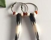 Africa Inspired Carved Bone Hoop Earrings