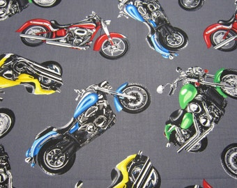 Motorcycle Cotton Fabric by Timeless Treasures with Gray Background