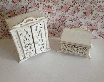 dollhouse wooden  furniture, wardrobe and  drawer