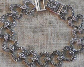 Silver heart shaped marquisite bracelet
