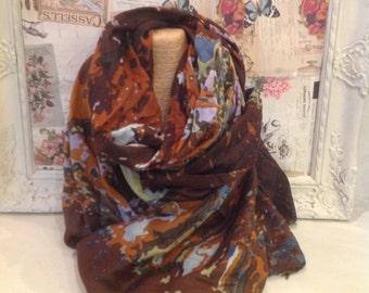 Brown, green and burnt orange pattern scarf