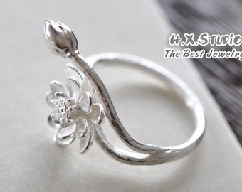 Hand Made 3D Silver Lotus Ring, Water Lily Flower Bud and Seedpot Ring
