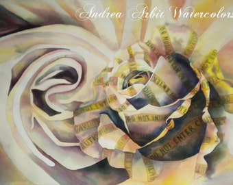 """Silk Caution - 22""""x30"""" Watercolor Painting"""