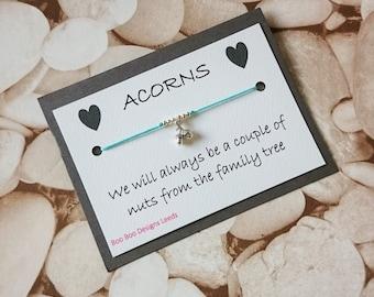 Family bracelet - Friendship bracelet - Sisterhood - anklet - Memory bracelet -  Acorn bracelet - Sister Gift - Bridesmaid - BFF - Acorn