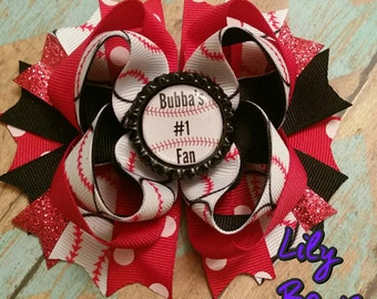Baseball bow - baseball sister bow- baseball hair bow- Personalized Bow