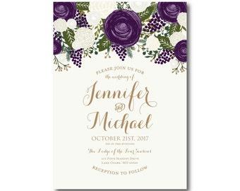 Vintage Floral Wedding Invitation - Fall Wedding - Vintage Floral - Floral Wedding - Vintage Wedding - Vintage Floral Invitation #CL258