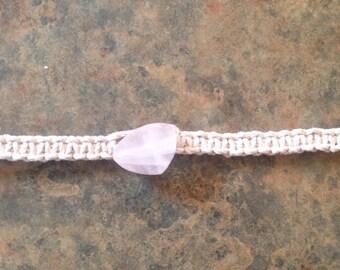 Rose Quartz  Hemp Choker Necklace