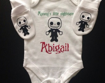 """Jack skellington """" mummys lityle nightmare , personalised baby vest/ bodysuit and scratch mitts."""