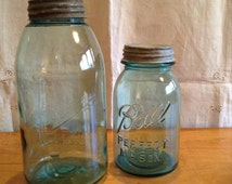 Vintage BALL Canning JARS. Rare and Collectable! Wonderful AQUA Colour with Solid Zinc Lids. Great Pair for Display or Use.