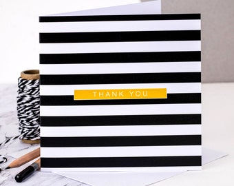 Thank You Card; Black And White Stripes; Geometric Card; Stripy Card; Thanks Card; GC180