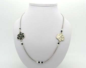 Black and white flowers necklace, beads, silver chain - necklace for women, gifts for her