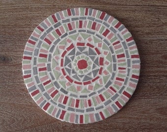 Below of dish round mosaic pastel colors