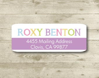 Purple, Pastel Color Tones, Chalkboard Font, Return Address Label, MATTE, Personalized, Blue, Pink, Lime, Orange
