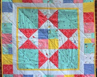 Saltwater Mermaids quilt for cot or lap