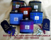 Groomsmens Scottish wedding gifts Harris Tweed hip flasks set of six with customized labels ushers best man groom or favours