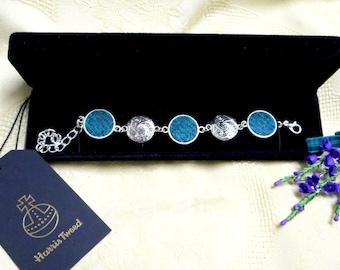 Harris Tweed bracelet spiral celtic jade green and grey bangle Scottish made in Scotland womens gift bridesmaid jewellery christmas present