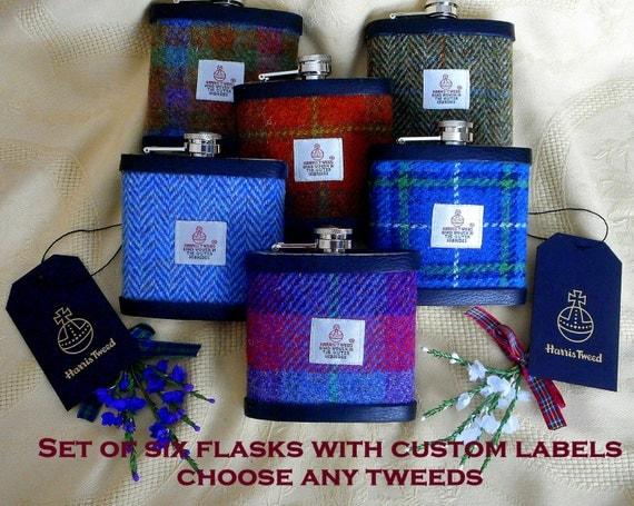 Wedding Gift Ideas Scotland : Groomsmens Scottish wedding gifts Harris Tweed hip flasks set of six ...