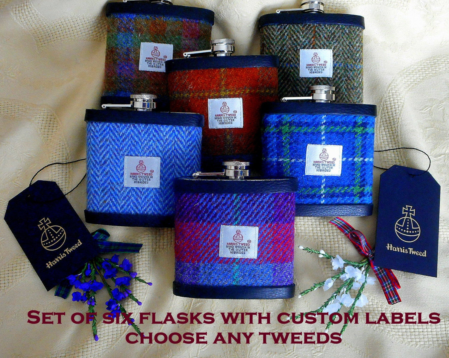 Scottish Wedding Gifts: Groomsmens Scottish Wedding Gifts Harris Tweed Hip Flasks Set