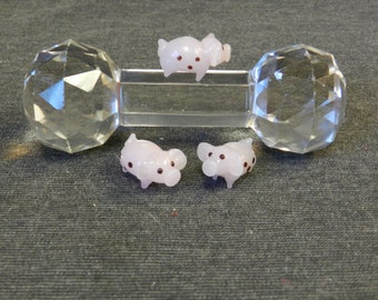 Set of 3 Pink Spotted Pig Lampwork Glass Beads - 10mm