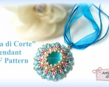 """Bead Pattern DIY """"Dama di Corte"""" Pendant with Superduo, o-beads, soft touch, rocailles"""