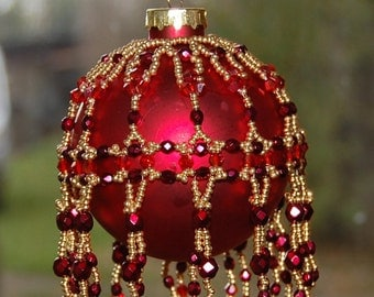 CHRISTMAS DELIGHT  Bauble Cover Tutorial, Features your choice of Pearls or Fire Polish, Drops or Crystals, and size 11 Seed Beads