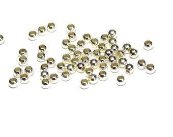 25 pc. Small Round Sterling Silver Beads Filler Beads 2 mm