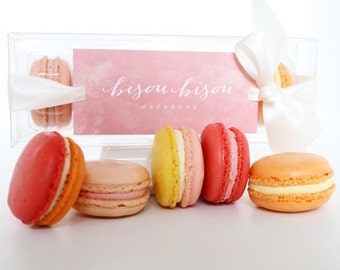 "French Paris Macaron Gift Edible ""Fruit Collection"" Raspberry, Strawberry, Lemon, Peach, Cassis Edible Macaron Gift Box Bisou Bisou Macarons"