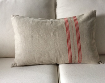 Vintage french linen with red stripe