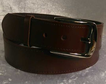 Brown leather belt with 40mm nickel buckle Made to Order