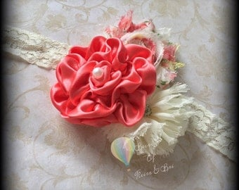 Coral rose flower lace Headband - coral rosette, floral shabby, ivory flower