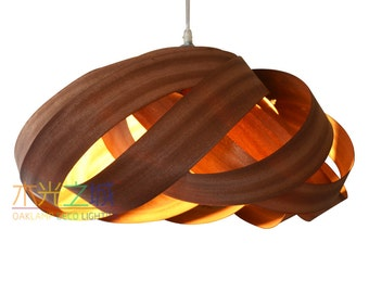 Pendant Light,Beautiful Nest 2-Light Pendant Light,made of sapele veneer,Eco-friendly, design lamp,dining room light, ceiling light,Lighting