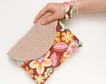 Clutch summer bag for her, floral fabric, handbag with changeable crochet flap/ CrastyFlap Alfa