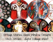 Vintage Middle Ages Stained Glass Window 1-inch circles 0128