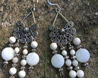 White shell and bone chandelier earrings