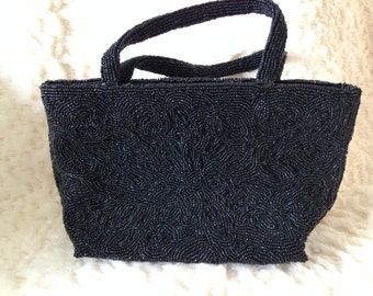 Vintage Hand Beaded Black Evening Bag-GORGEOUS!!!