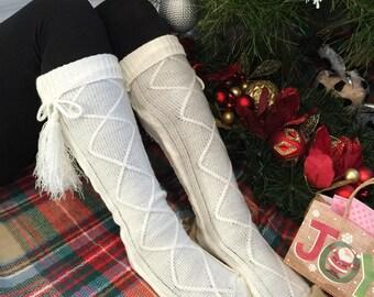 Boot Socks with Fringe Tassel in Ivory, Knee High Socks, Boot Socks, Leg Warmers