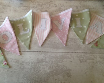 Personalised Girls Spots, Stripes and Floral Bunting