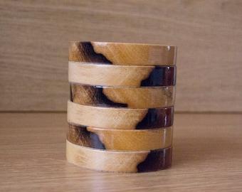 Set of six Decorative coasters set. Handmade, wood.