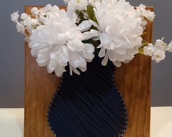 String Art Vase with Flowers, Handmade!! Cape Cod Blue