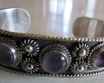 Mexico TS-121 Sterling Silver and Amethyst Cuff Bracelet