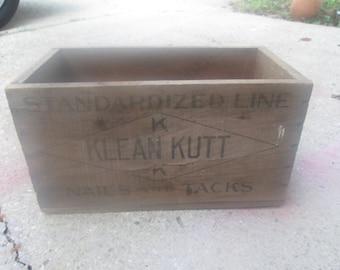 Vintage Wooden Box Klean Kutt Nails and Tacks Early Crate Nail Box