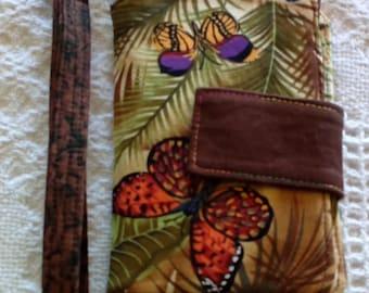 "Wristlet Wallet/Clutch/Tote/Bag/Purse/Pouch, Wristlet Wallet 5"" x 6.5"" Butterflys"