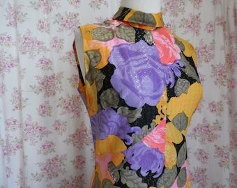 Vintage Checkaberry Maxi Dress Gown Floral Diva Divawear