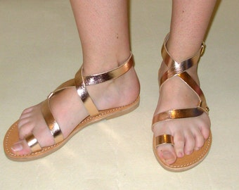 Purchase 2 Pairs at everything of GREEK Sandals - 10% OFF.Genuine Greek Leather Sandals, Rose Gold Sandals, Women's Sandals,Strappy Sandals.